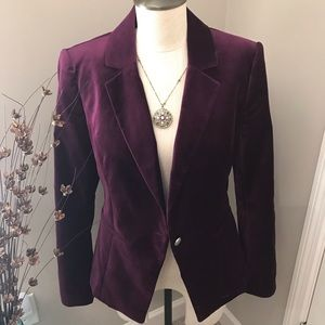 WHBM Velvet Jacket in rich plum